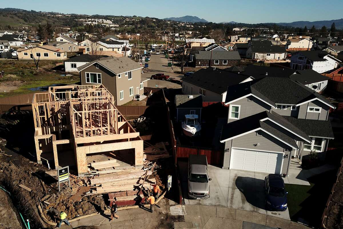 Construction at the end of Astaire Court and Santiago Drive in Coffey Park neighborhood on Friday, Jan. 25, 2019, in Santa Rosa, Calif. The neighborhood is being rebuilt after it was destroyed in the Tubbs Fire in 2017.