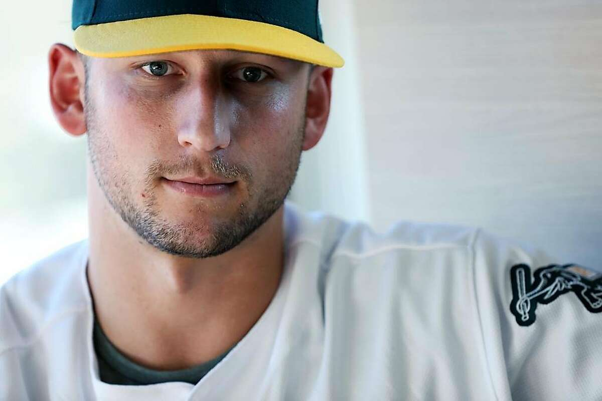 Oakland A's pitcher James Kaprielian speaks to the media at Jack London Square, in Oakland, Calif., on Friday, January 25, 2019. He hopes to play in the big leagues this season