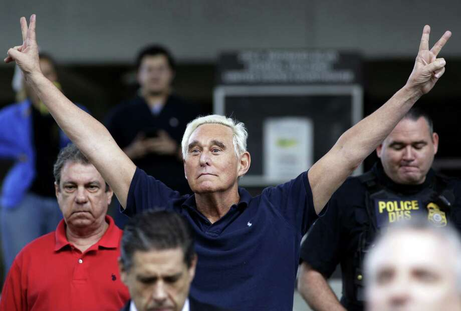 Rogert Stone, a former campaign adviser for President Donald Trump, walks free on bond in Florida after he was arrested Friday in the special counsel's Russia investigation. Photo: Lynne Sladky, STF / Associated Press / Copyright 2019 The Associated Press. All rights reserved.
