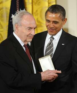 President Barack Obama presents former Sen. Harris Wofford (D-Pa.) with the 2012 Presidential Citizens Medal in the East Room of the White House in Washington, D.C., on February 15, 2013. (Olivier Douliery/Abaca Press/TNS)