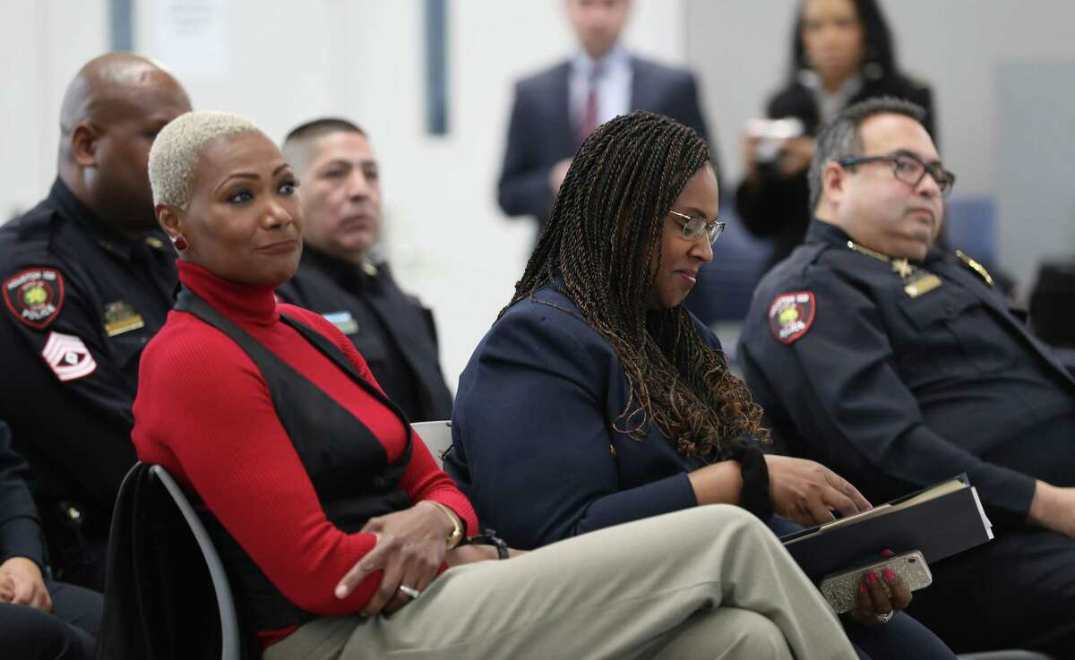 Houston Independent School District Trustee Jolanda Jones and Interim Superintendent Dr. Grenita Lathan attend an HISD Police Department formal swearing-in ceremony at the High School for Law and Justice on Wednesday, Jan. 23, 2019, in Houston.