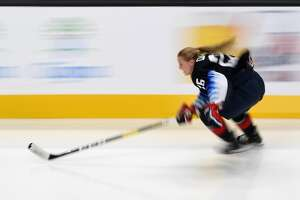 SAN JOSE, CA - JANUARY 25: Kendall Coyne of the US Women's National Team competes in the Bridgestone NHL Fastest Skater during the 2019 SAP NHL All-Star Skills at SAP Center on January 25, 2019 in San Jose, California.  (Photo by Thearon W. Henderson/Getty Images)