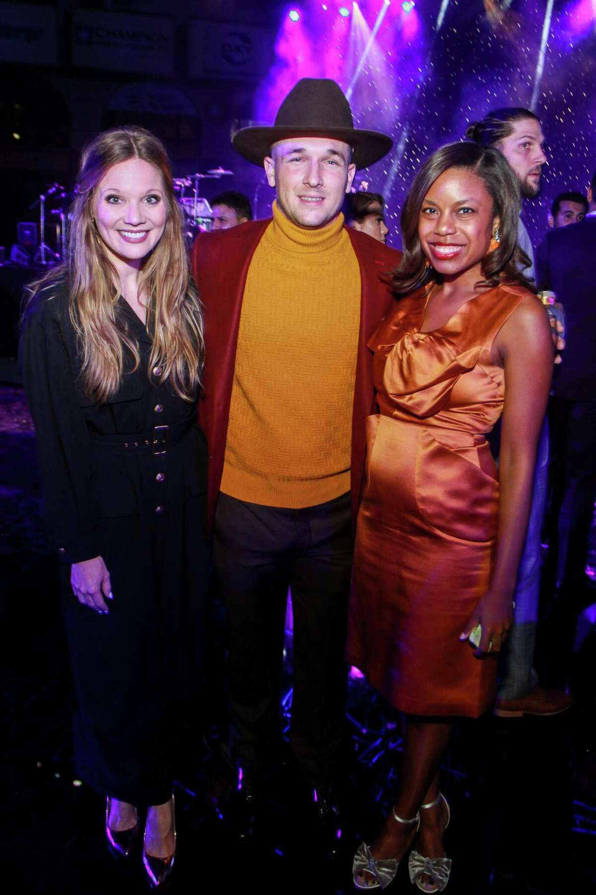 Grace Gibson, from left, Alex Bregman of the Astros, and Amber Elliott at the Astros Diamond Dreams Gala at Minute Maid Park.