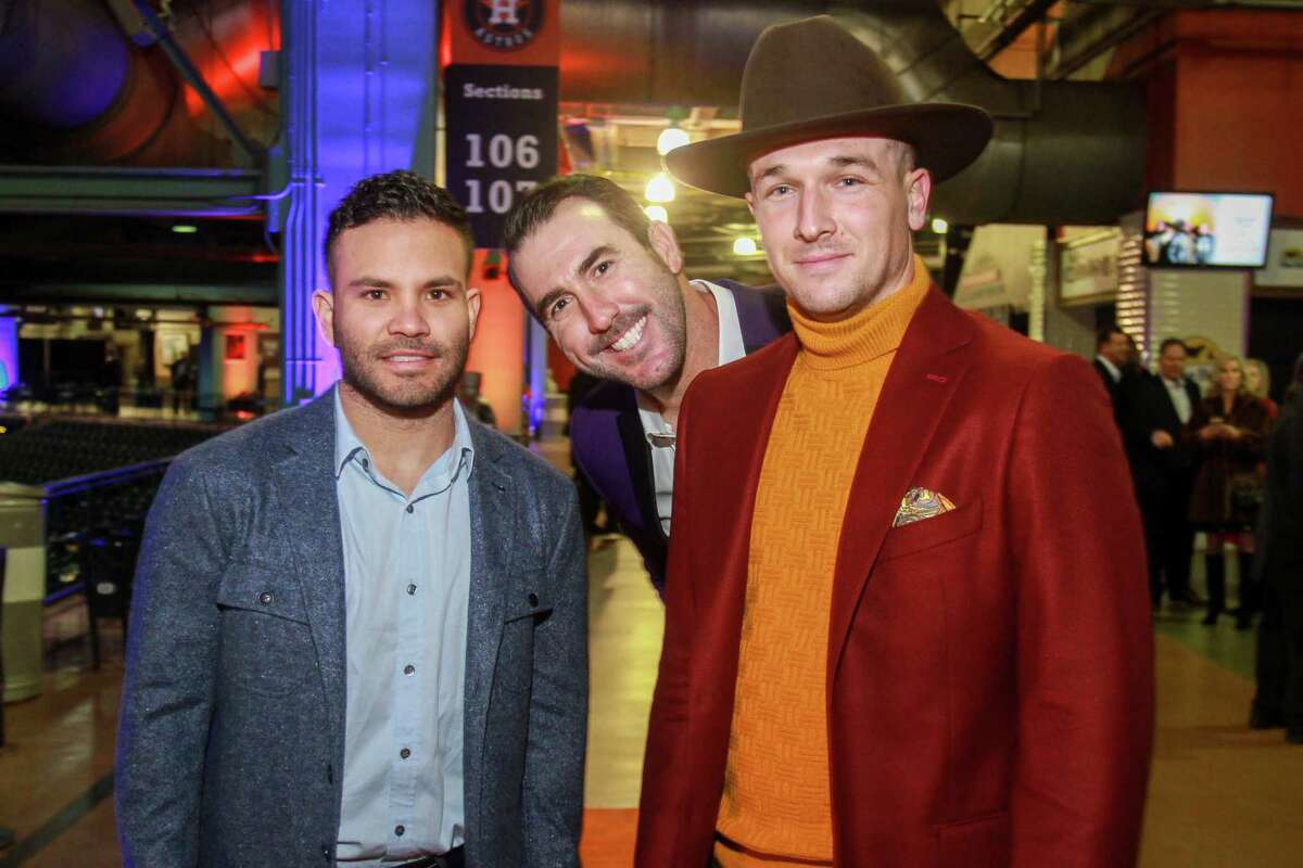 Houston Astros' Jose Altuve, from left, Justin Verlander and Alex Bregman at the Astros Diamond Dreams Gala at Minute Maid Park.