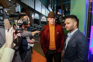 Alex Bregman, left, and Jose Altuve being interviewed at the Astros Diamond Dreams Gala at Minute Maid Park.