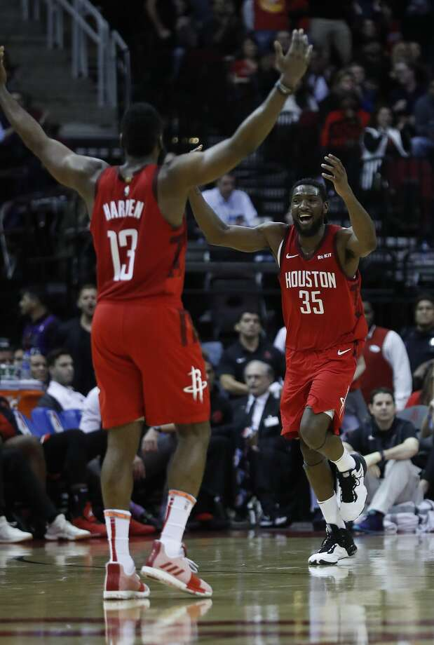 b12a8d4734d0 Houston Rockets forward Kenneth Faried (35) celebrates a basket scored  against Toronto Raptors with
