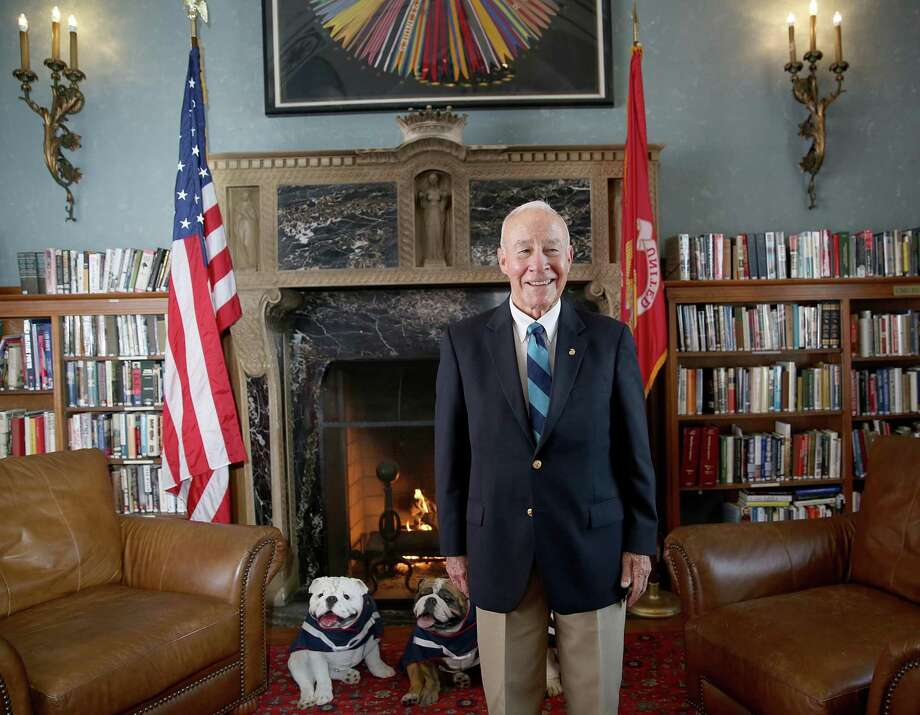 Myatt In the library of the Marines' Memorial Club. Photo: Liz Hafalia / The Chronicle 2017 / online_yes