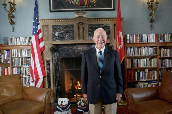 Myatt In the library of the Marines' Memorial Club.