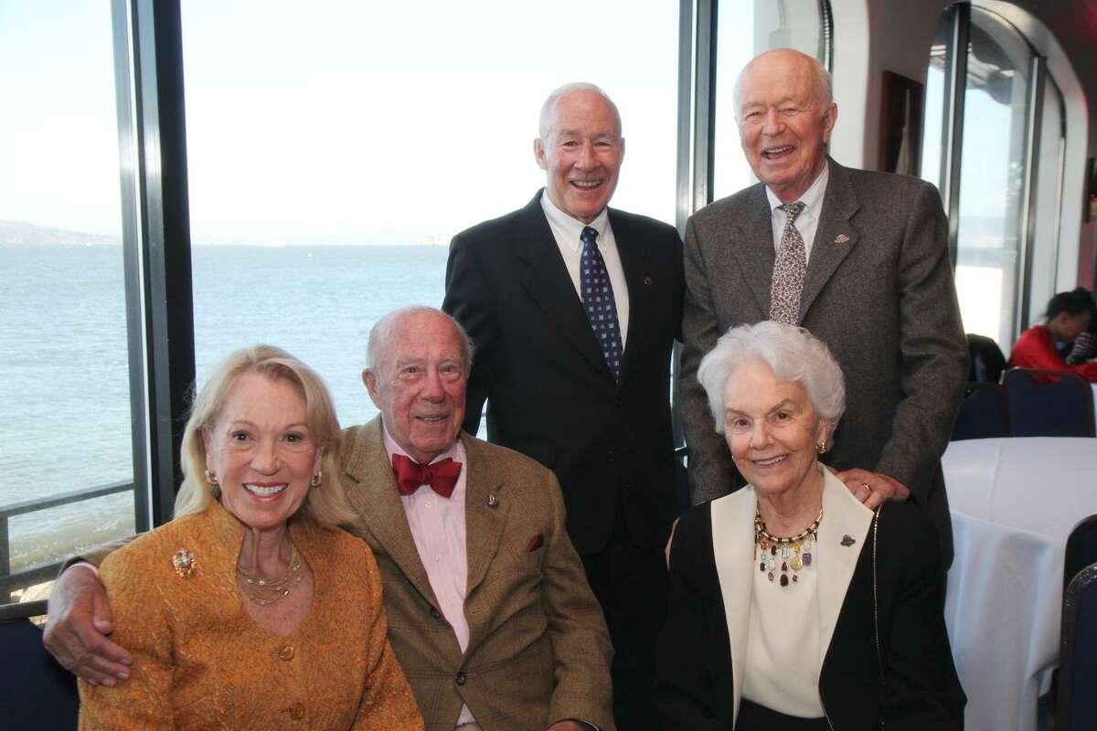 Fleet Week fundraiser in 2010: Charlotte (seated left) and George Shultz with Betty Bechtel; Mike Myatt (standing left) and Stephen Bechtel.