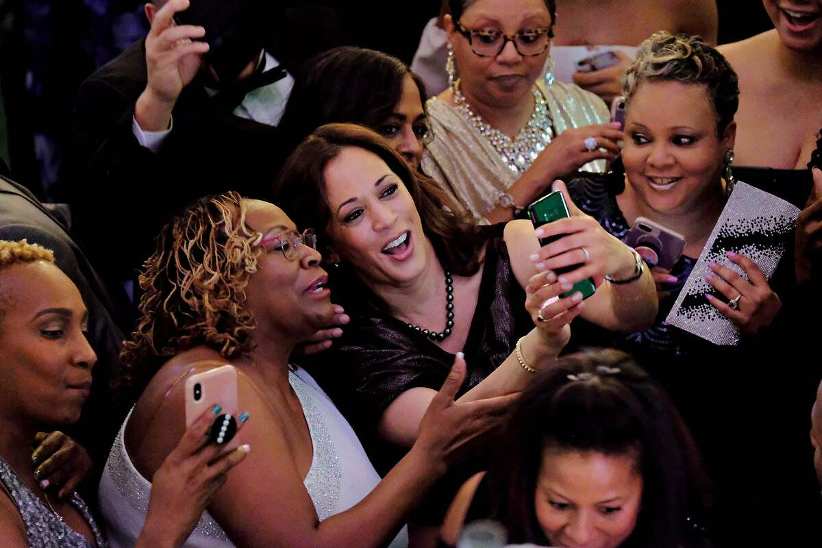 on Friday, Jan. 25, 2019 in Columbia, SC California Senator Kamala Harris, who announced her candidacy for the Presidency of the United States in January, takes selfies after delivering brief remarks at the 37th Annual Alpha Kappa Alpha Pink Ice Gala sorority event in Columbia, SC. Harris became a member of Alpha Kappa Alpha sorority as an undergraduate when she attended Howard University.