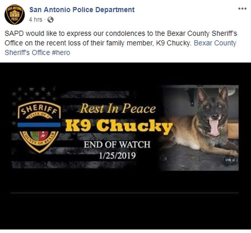 San Antonio Police Department share their thoughts and condolences for the fallen Bexar County Sheriff's Office K9 Chucky.