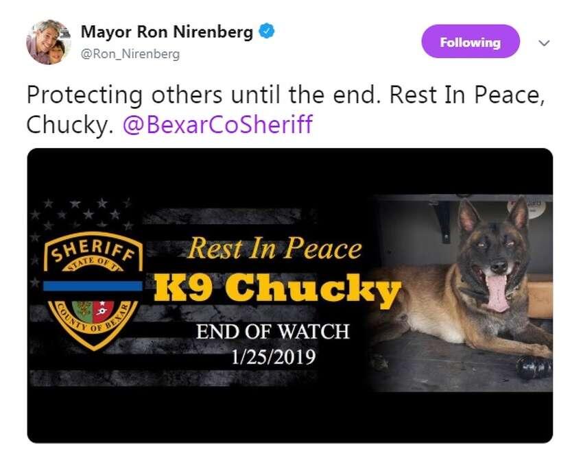San Antonio Mayor Ron Nirenberg shares his condolences on Twitter for the fallen Bexar County Sheriff's Office K9 Chucky.