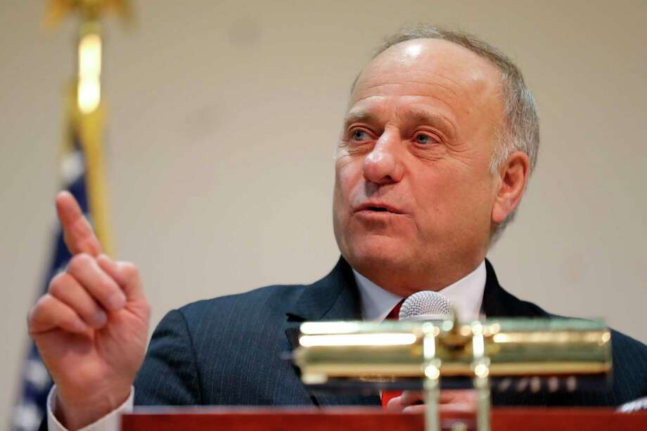 U.S. Rep. Steve King, R-Iowa, speaks during a town hall meeting, Saturday, Jan. 26, 2019, in Primghar, Iowa. This is the first of 39 town hall meetings the Iowa congressman plans to hold following his nearly unanimous rebuke by the U.S. House over racist comments he made during a newspaper interview earlier in the month. Photo: Charlie Neibergall, AP / Copyright 2019 The Associated Press. All rights reserved