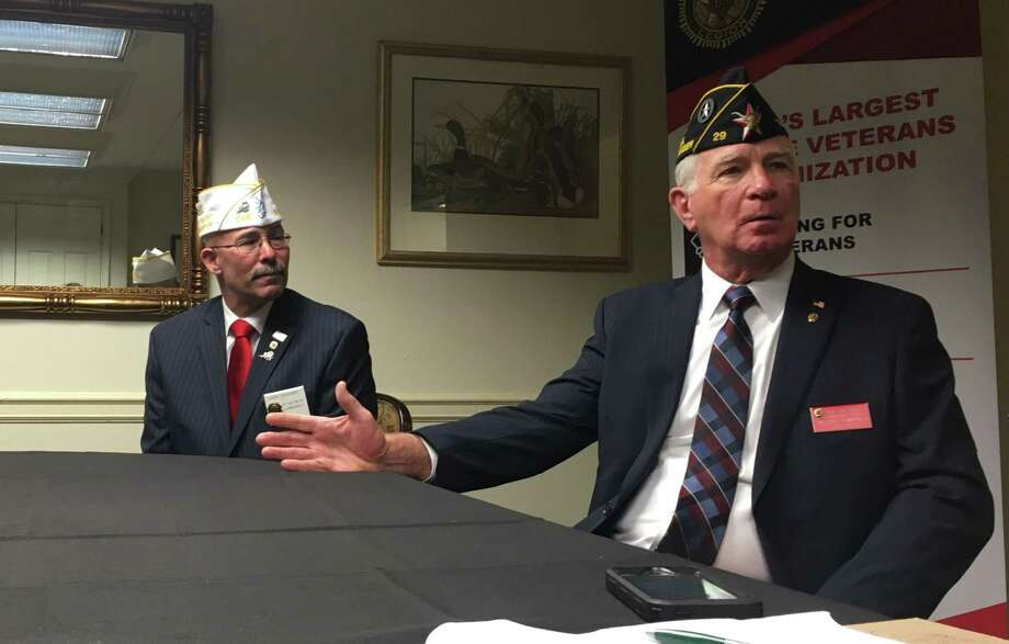 Paul E. Dillard, the American Legion's next national commander, and Gary Schacher, the New York Department Commander, spoke to a small crowd about the weekend's conference, as well as the Legion's legislative goals for this year. Photo: Diego Mendoza-Moyers / Times Union