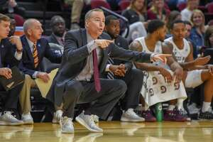 COLLEGE STATION, TX - JANUARY 26: Texas A&M Aggies men's basketball coach Billy Kennedy calls a play from the sideline during the basketball game between the Kansas State Wildcats and Texas A&M Aggies at Reed Arena on January 26, 2019 in College Station, Texas. (Photo by Ken Murray/Icon Sportswire via Getty Images)