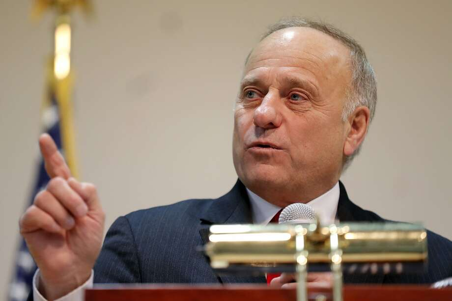U.S. Rep. Steve King, R-Iowa, speaks during a town hall meeting, Saturday, Jan. 26, 2019, in Primghar, Iowa. This is the first of 39 town hall meetings the Iowa congressman plans to hold following his nearly unanimous rebuke by the U.S. House over racist comments he made during a newspaper interview earlier in the month. (AP Photo/Charlie Neibergall) Photo: Charlie Neibergall, Associated Press
