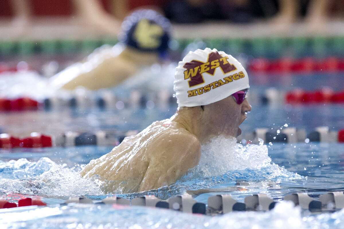 Tristan Richert of Magnolia West competes in the boys 200-yard individual medley during the District 21-5A Swimming & Diving Championships at the Tomball ISD Aquatic Center, Saturday, Jan. 26, 2019, in Tomball.