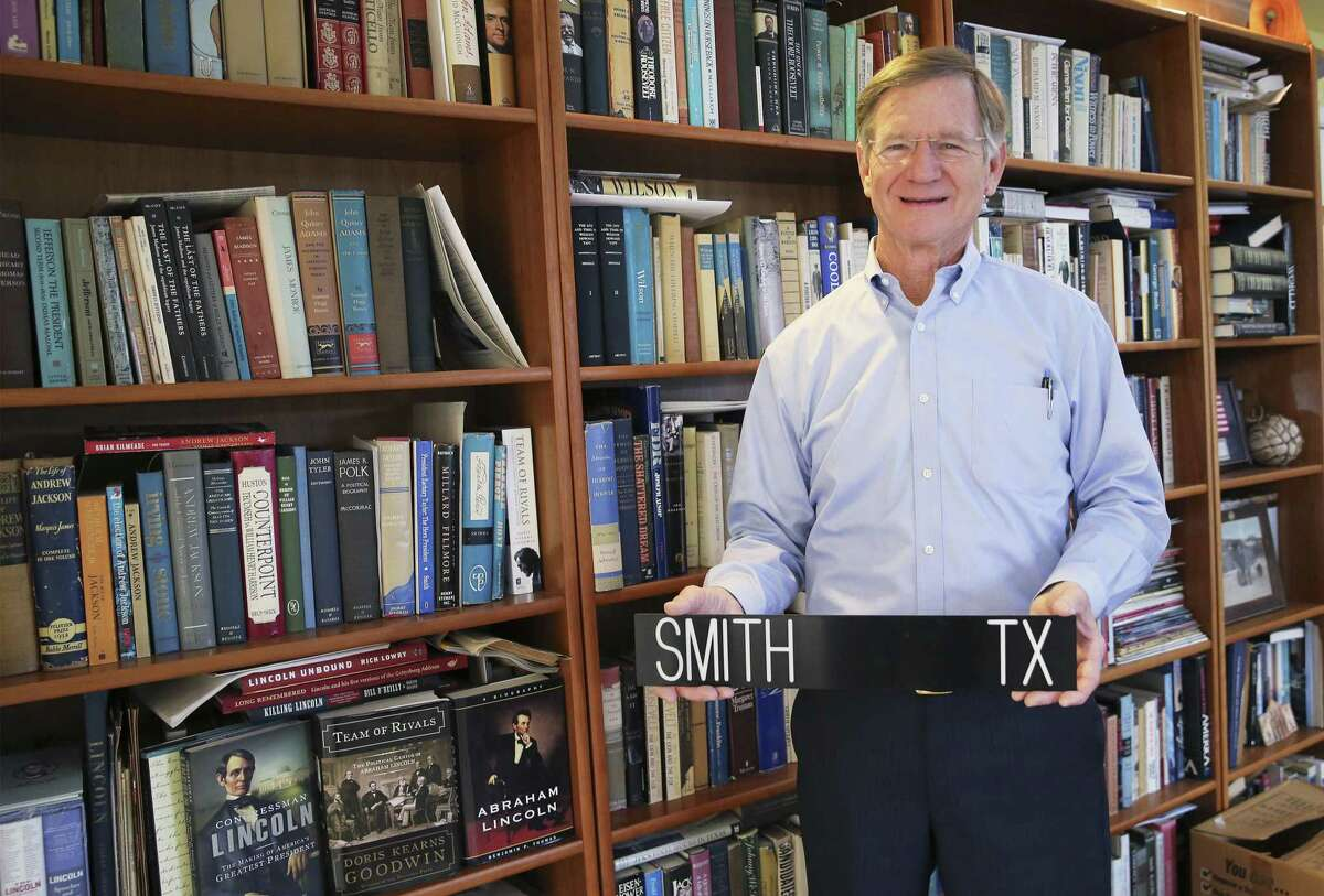 Former Congressman Lamar Smith, who left Congress this month after more than 30 years in the House of Representatives, reflects on his time in office, his accomplishments and what lies in his future on Thursday, Jan. 10, 2019. Among some of the items he brought home from D.C. are his myriad of presidential biographies and his voting placard. (Kin Man Hui/San Antonio Express-News)