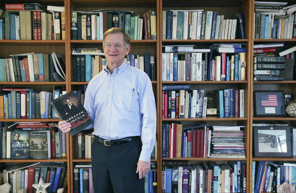 Former Congressman Lamar Smith, who left Congress this month after more than 30 years in the House of Representatives, reflects on his time in office, his accomplishments and what lies in his future on Thursday, Jan. 10, 2019. Among the many items he brought home from D.C. are his myriad of presidential biographies including one of his most admired: President Abraham Lincoln. (Kin Man Hui/San Antonio Express-News)