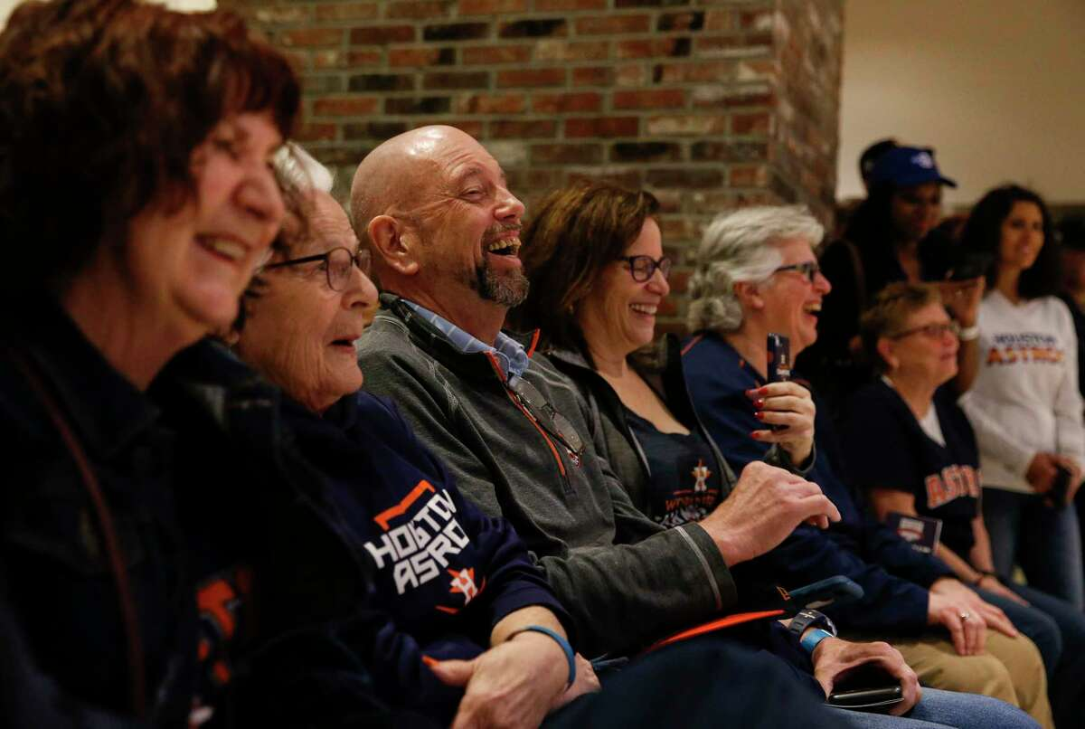Houston Astros fans enjoy listening baseball stories from players George Springer, from left, Jake Marisnick and Justin Verlander at the packed Diamond Club during the Astros Fan Fest on Saturday, Jan. 26, 2019, in Houston.