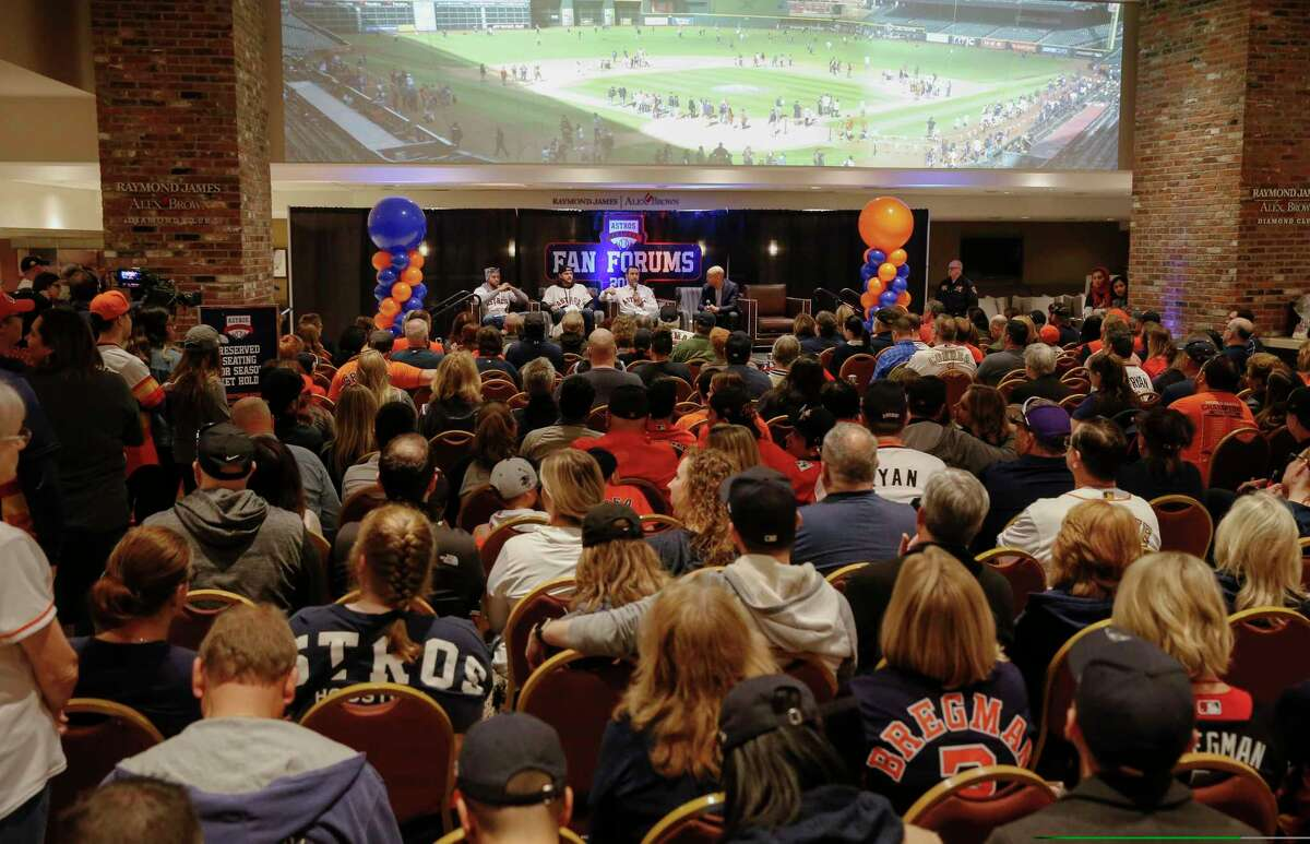 Houston Astros fans packed the Diamond Club to hear Jake Marisnick, Justin Verlander and George Springer's baseball stories at the Astros Fan Fest on Saturday, Jan. 26, 2019, in Houston.
