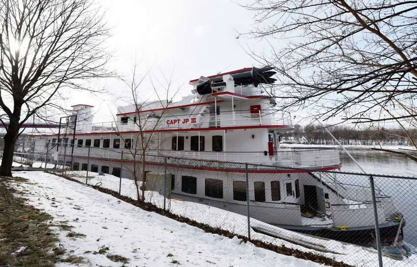 The captain JP III is docked one day after drifting down the Hudson River Saturday, Jan. 26, 2019 in Troy, NY.