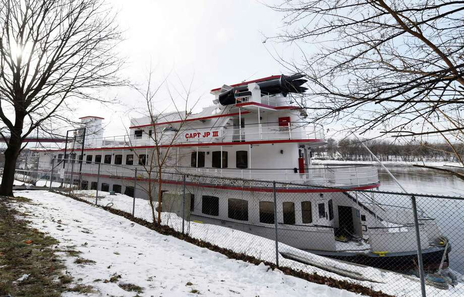 The captain JP III is docked one day after drifting down the Hudson River Saturday, Jan. 26, 2019 in Troy, NY. Photo: Phoebe Sheehan, Albany Times Union