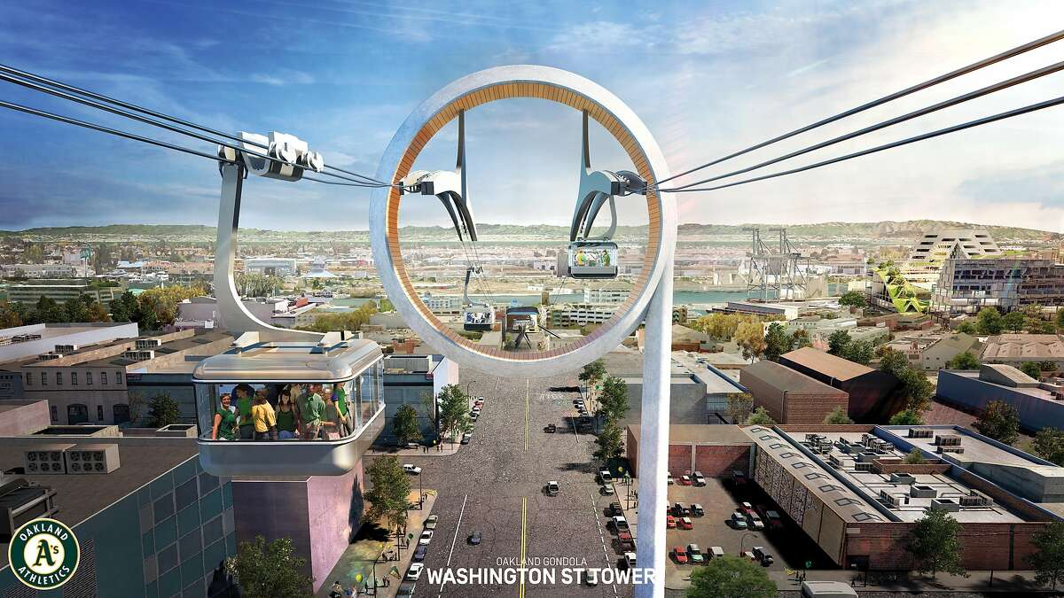The A's unveiled plans for a gondola to run from BART to their proposed Howard Terminal site, including a tower above Washington Street.