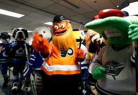 Gritty of the Philadelphia Flyers gathers with other league mascots before a game between the mascots ahead of the NHL All-Star Game at SAP Center in San Jose, Calif. on Saturday, Jan. 26, 2019.