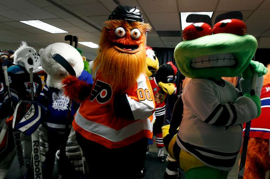 Gritty of the Philadelphia Flyers gathers with other league mascots before a game between the mascots ahead of the NHL All-Star Game at SAP Center in San Jose, Calif. on Saturday, Jan. 26, 2019. Photo: Paul Chinn / The Chronicle