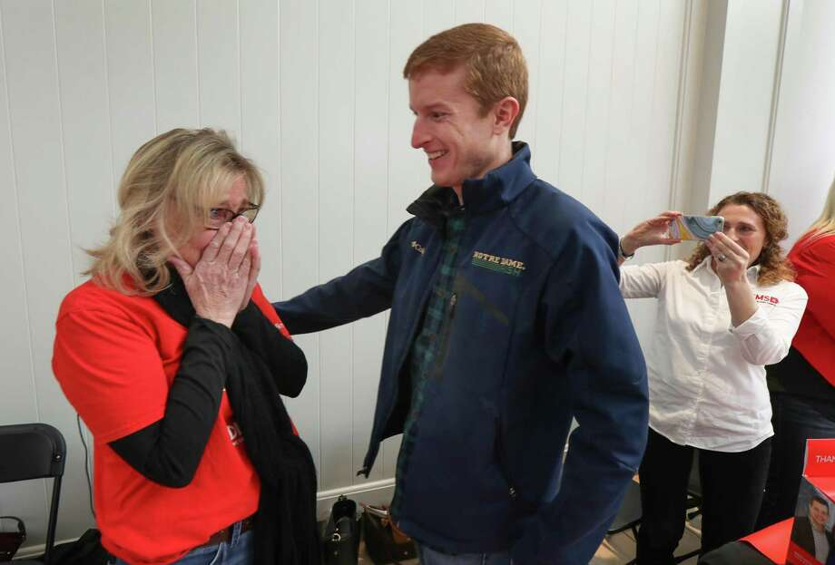 Robin Kuntz (left) reacts to meeting the donor who saved her life, Jason Kippenbrock (right), during a DKMS bone marrow registry event at Memorial City Mall Saturday, Jan. 26, 2019, in Houston. Photo: Steve Gonzales, Houston Chronicle / Staff Photographer / © 2019 Houston Chronicle
