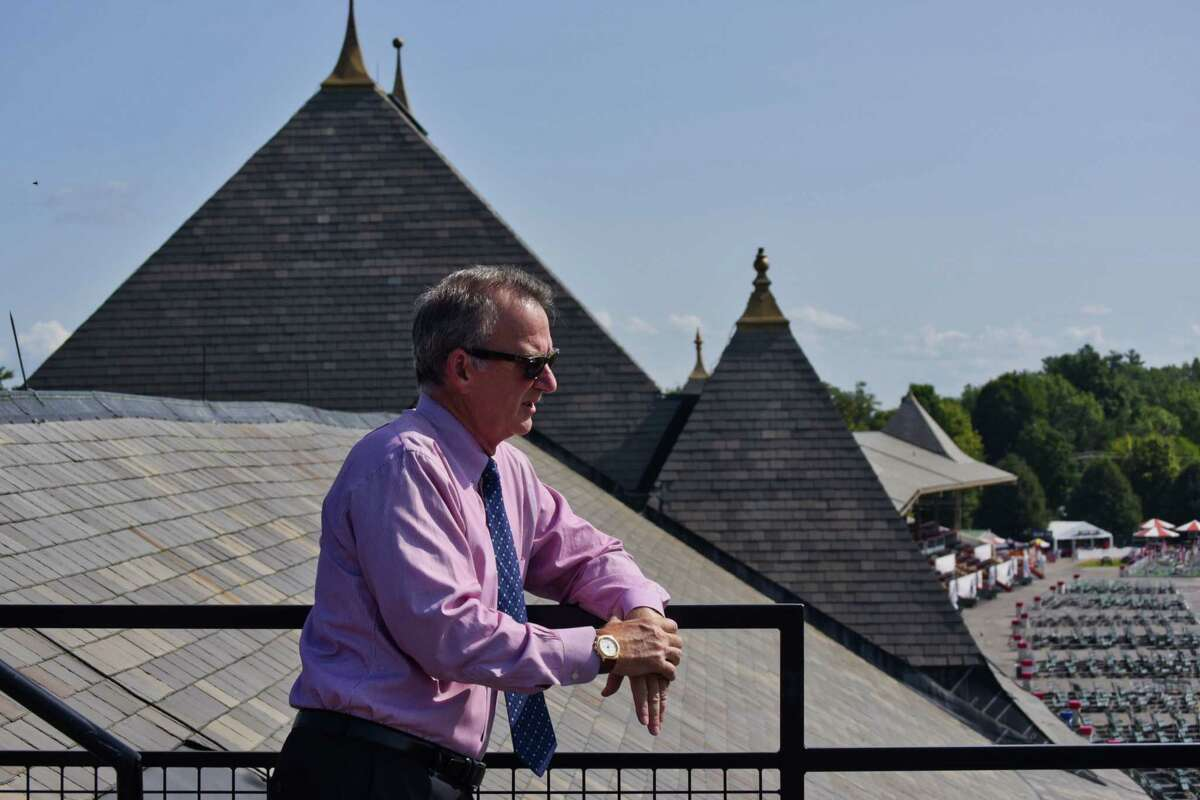 Chris Kay, NYRA president and CEO, stands on the roof over the clubhouse at the Saratoga Race Course on Monday, Aug. 20, 2018, in Saratoga Springs, N.Y. (Paul Buckowski/Times Union archive)