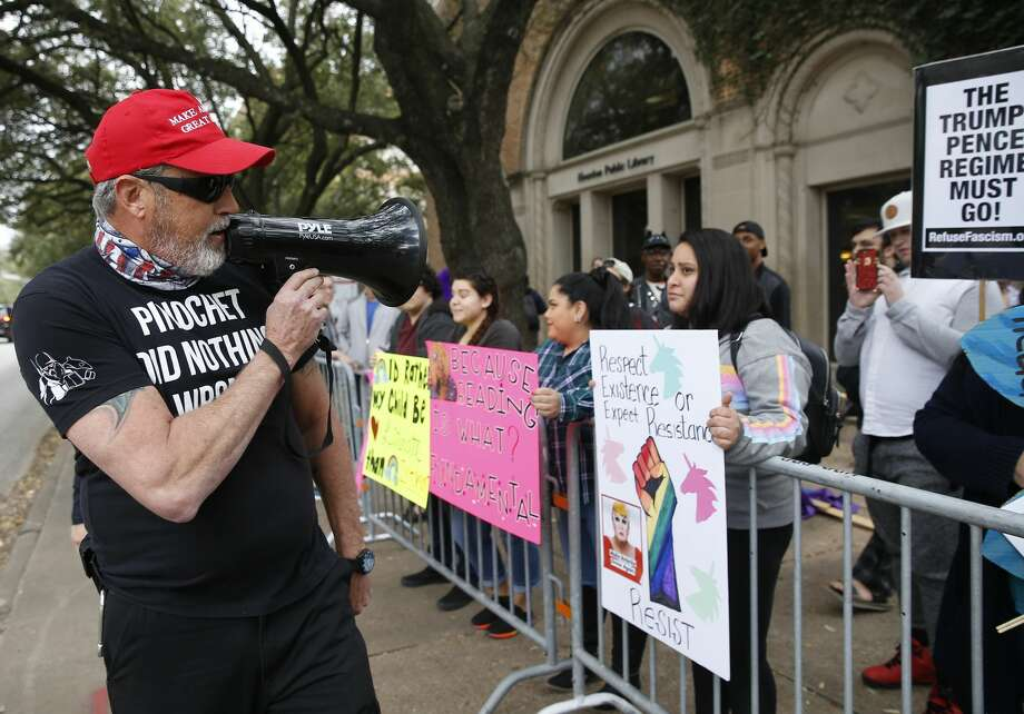Drag Queen Storytime protester Ron, who wishes not to give his last name, exchanges words with storytime supporters outside of the Freed-Montrose Neighborhood Library on Saturday, Jan. 26, 2019, in Houston. The library just increaded the monthly Drag Queen Storytime event from one session to two sessions due to the popularity. Photo: Yi-Chin Lee/Staff Photographer