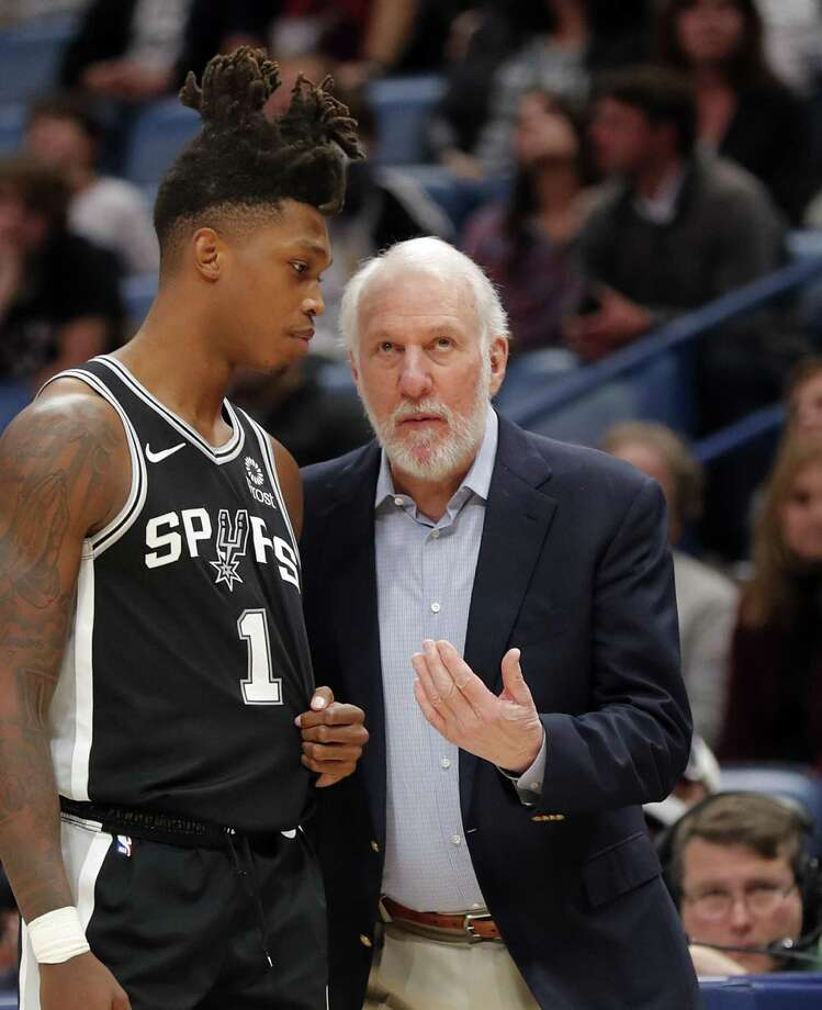 Spurs coach Gregg Popovich would like rookie guard Lonnie Walker IV to follow the same path as other Spurs have taken while improving in the G League. Photo: Gerald Herbert / Associated Press / Copyright 2019 The Associated Press. All rights reserved.