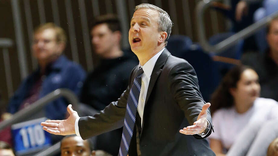 HOUSTON, TX - JANUARY 24: Rice Owls head coach Scott Pera questions an officials call against the Middle Tennessee Blue Raiders during a mens college basketball game at Tudor Field House January 24, 2019 in Houston, Texas. Rice won 79-68. (Photo by Bob Levey/Contributor) Photo: Bob Levey/Houston Chronicle / 2019 Bob Levey