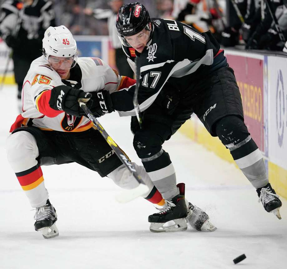 The Stockton Heat play the San Antonio Rampage during the second period of an AHL hockey game, Saturday, Jan. 26, 2019, in San Antonio. (Darren Abate/AHL) Photo: Darren Abate, FRE / Darren Abate/AHL / Darren Abate Media, LLC/AHL/San Antonio Rampage
