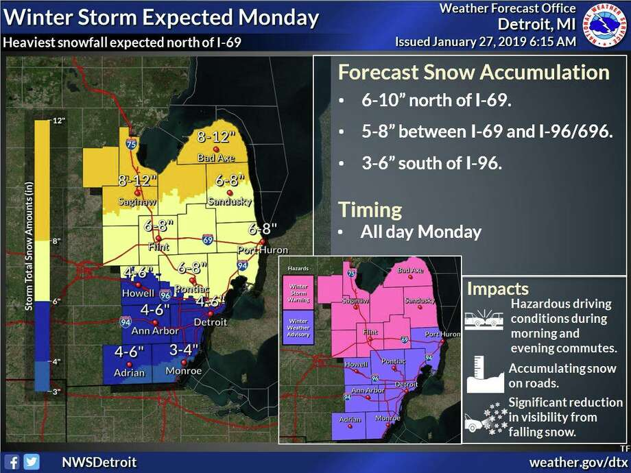 The forecast for heavy snow has prompted a winter storm warning for northern portions of the area and a winter weather advisory for the south. The morning and evening commutes on Monday are likely to be impacted. Travel will potentially become hazardous due to accumulating snow on roads and reduced visibility in falling snow.  Photo: National Weather Service Detroit