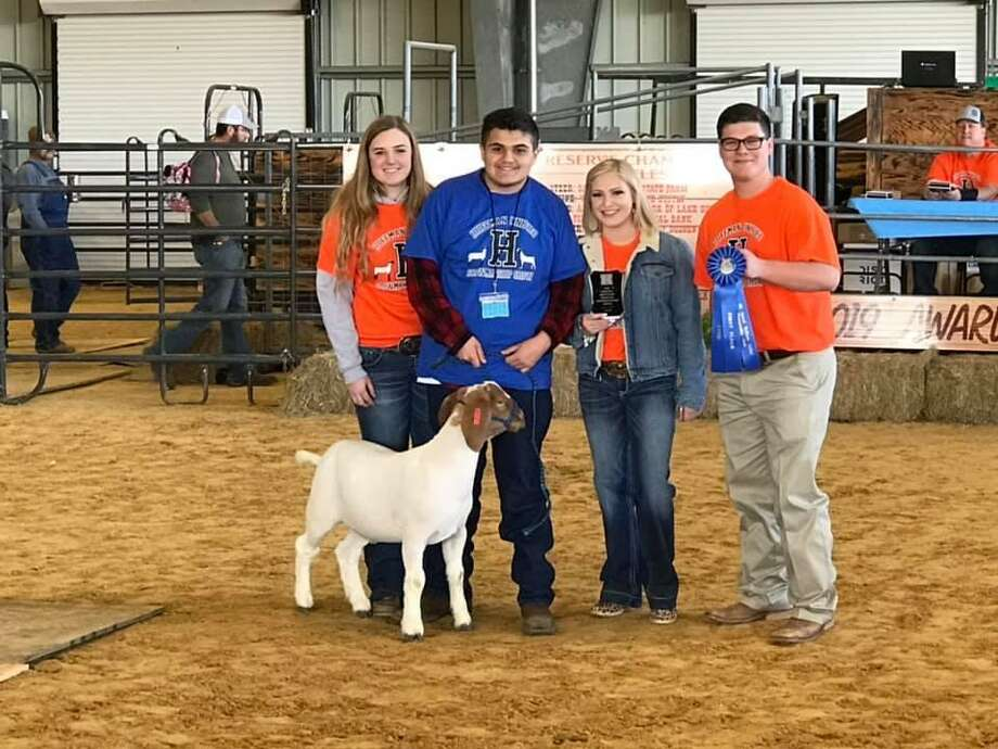 Nicholas Taylor (far right) and Alexis Thomas (second from right) awarded ribbons to the kids who showed their animals as part of the Huffman FFA Livestock Show Unfied Show Photo: Huffman ISD Facebook Page