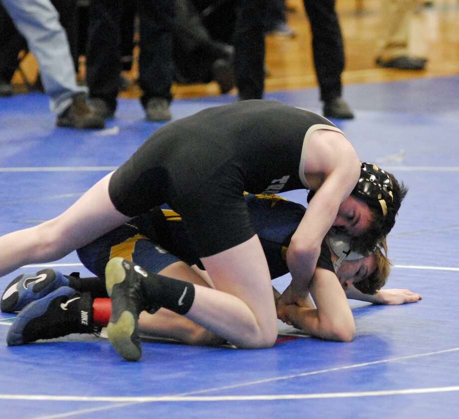 Trumbull's Jack Ryan won the 120-pound division at the CT Challenge, held Saturday at Southington High. The Eagles won the tournament as a team. Photo: Ryan Lacey /Hearst Connecticut Media