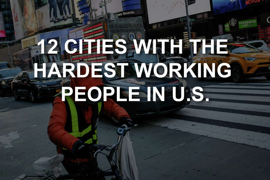 Using data from the U.S. Census Bureau, here are the 12 cities ranked as having the hardest working people based on the average number of hours residents worked there in a week. This number includes weekly hours worked plus commute times. Photo: Getty Images / 2018 Getty Images