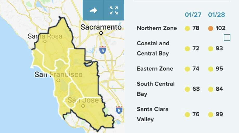 Air quality on Monday, Jan. 28, 2019 is expected to be USG in the Northern Zone. Photo: Bay Area Air Quality District