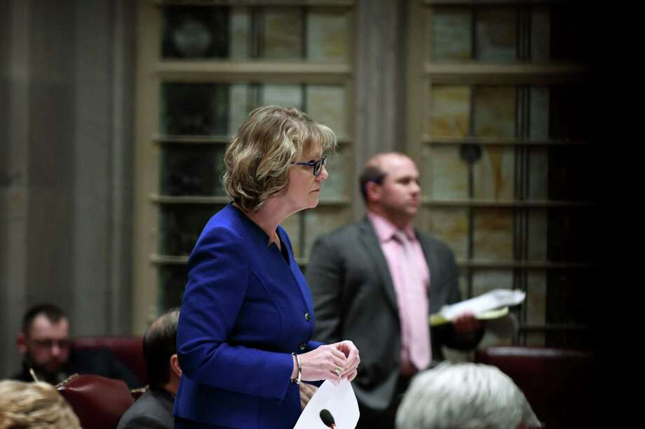 Republican Senator Catharine Young  on Monday, Jan. 14, 2019, in the Senate Chamber at the Capitol in Albany, N.Y. (Will Waldron/Times Union) Photo: Will Waldron / 012219_weather