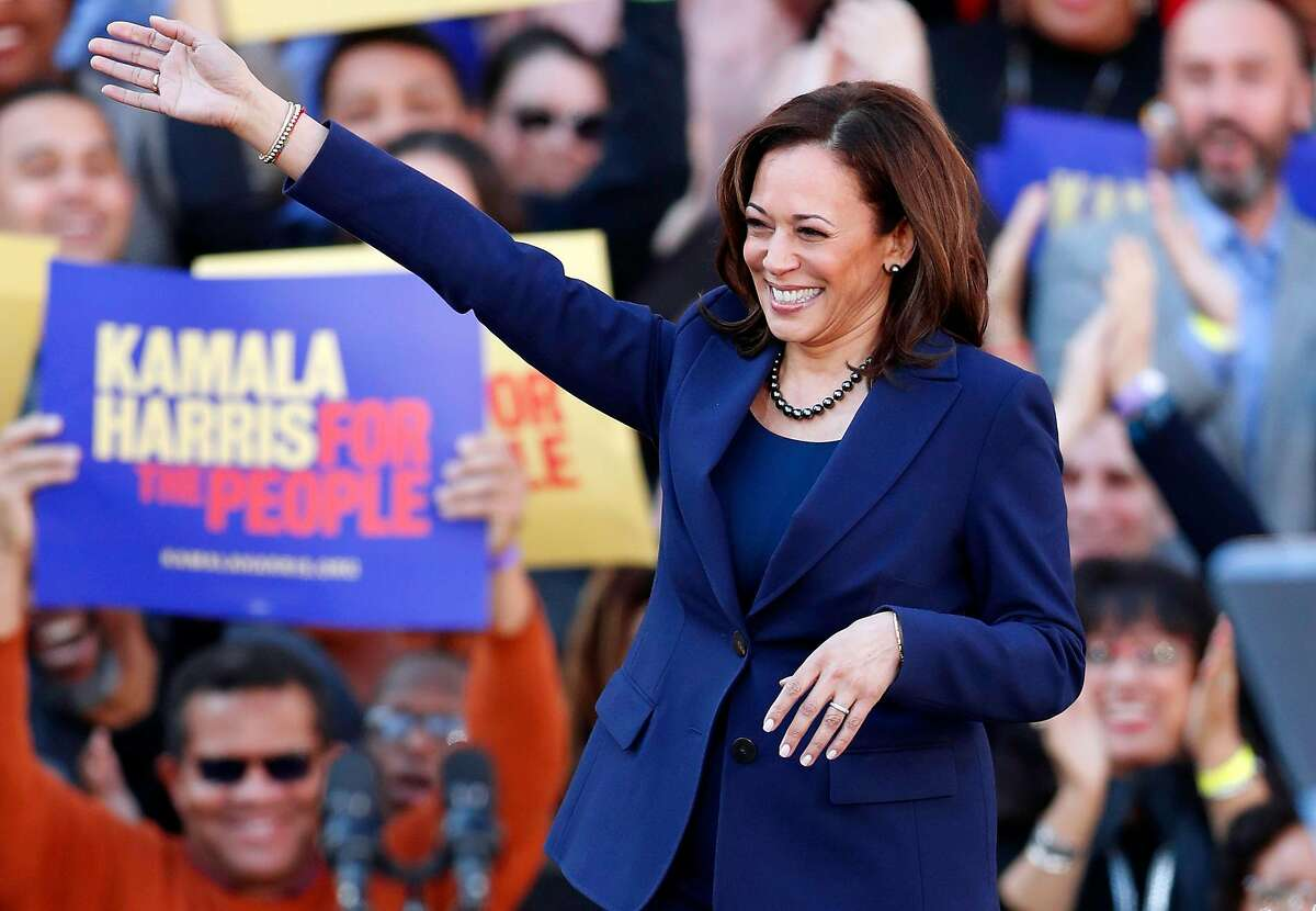 California Senator Kamala Harris arrives to launch her presidential campaign at a rally at Frank Ogawa Plaza in Oakland, Calif., on Sunday, January 27, 2019.