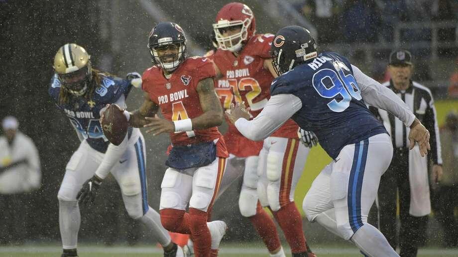 AFC quarterback Deshaun Watson (4), of the Houston Texans, scrambles against the NFC during the second half of the NFL Pro Bowl football game Sunday, Jan. 27, 2019, in Orlando, Fla. (AP Photo/Phelan Ebenhack) Photo: Phelan Ebenhack/Associated Press