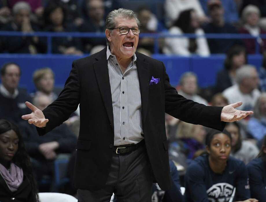 UConn coach Geno Auriemma reacts toward an official during a win over Central Florida on Sunday in Hartford. Photo: Jessica Hill / Associated Press / Copyright 2019 The Associated Press. All rights reserved