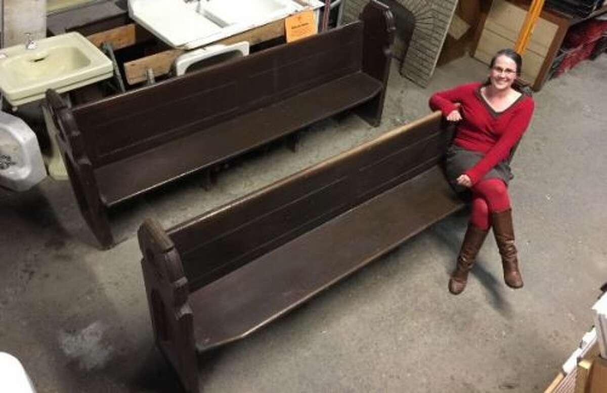These are two of the pews from the former St. Joseph's Church in Albany. They are being sold through the Historic Albany Foundation. (Photo provided)