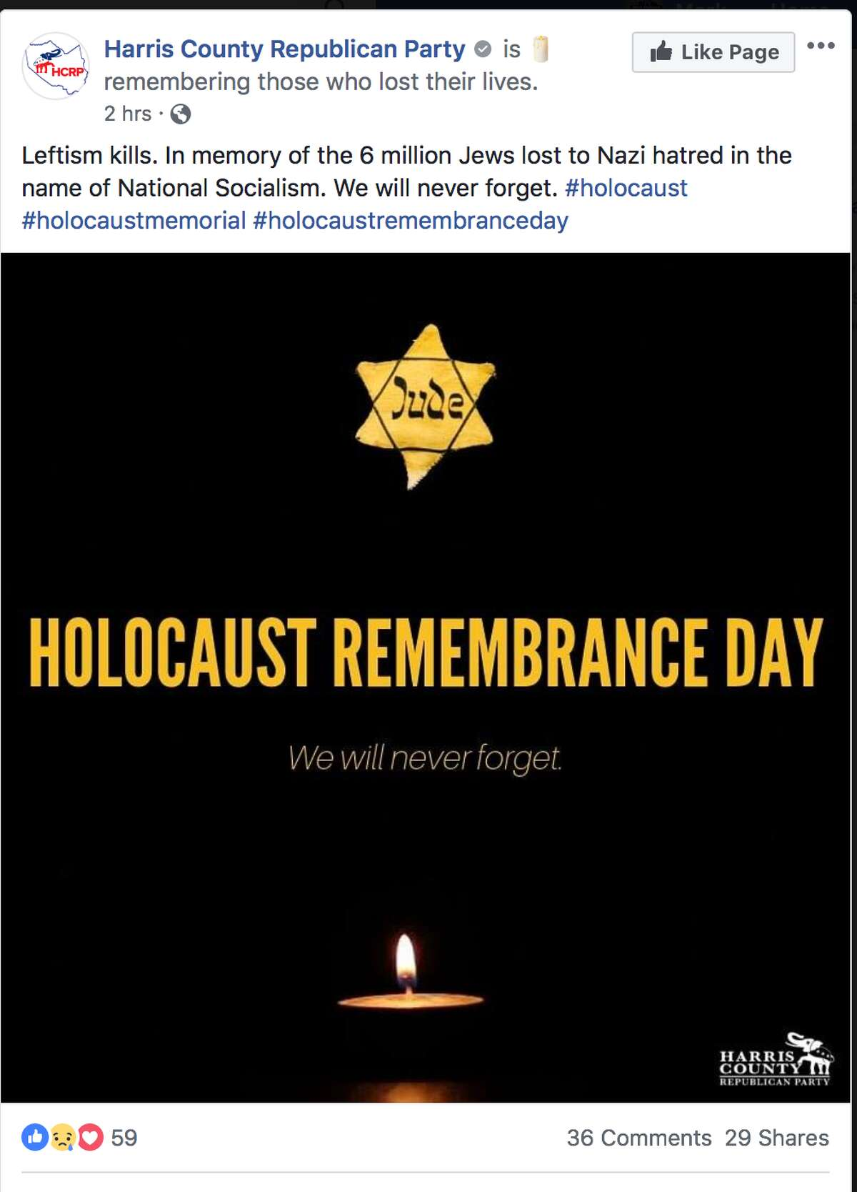 Harris County Republican Party's Holocaust post on its Facebook page earlier Sunday. It has since been removed.
