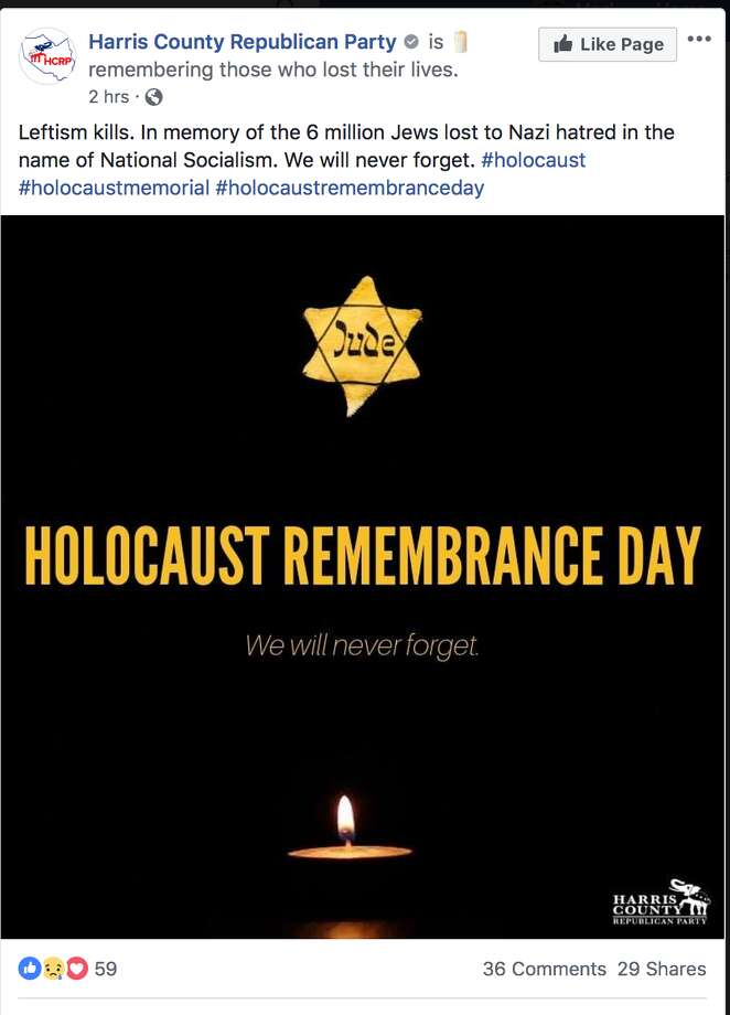 Harris County Republican Party's Holocaust post on its Facebook page earlier Sunday. It has since been removed. Photo: Facebook