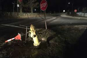 Damaged fire hydrant on corner of Prospect Ridge and Governor Street in Ridgefield.