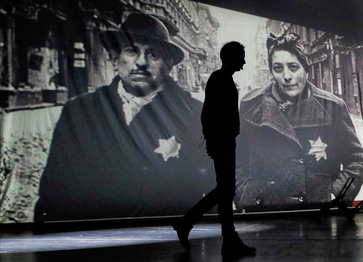 An actor of the Romania's Jewish State Theatre rehearse the musical drama